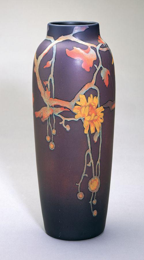 Vase, 1906, The Rookwood Pottery Company (American, est. 1880), Harriet Elizabeth Wilcox (1869–1943), decorator, earthenware, Painted Mat In...
