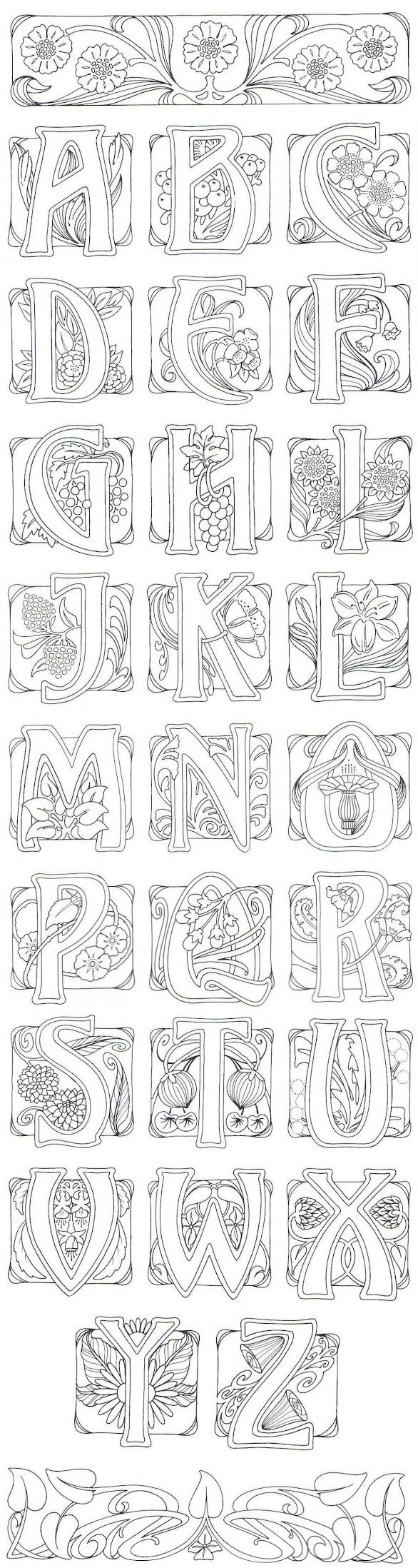 Art Nouveau/ alphabet / coloring pages for adults