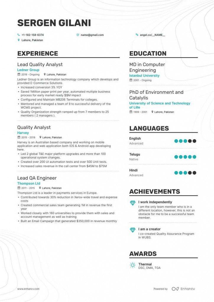 Qa Testing Resume 2021 Manual Testing Standard Cv Format Standard Cv
