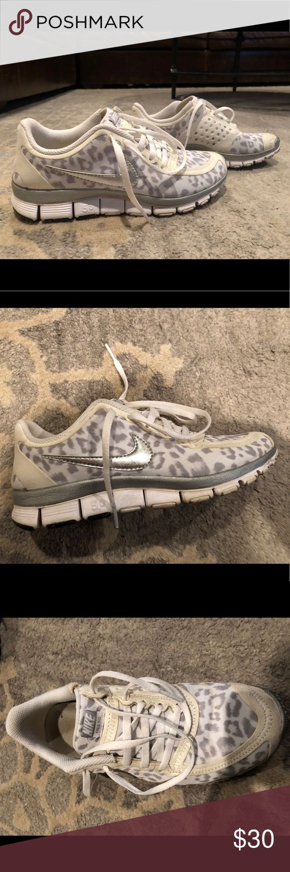Nike Free Leopard 5.0 White, silver and grey leopard Nike's.... so cute!! Nike Shoes Athletic Shoes