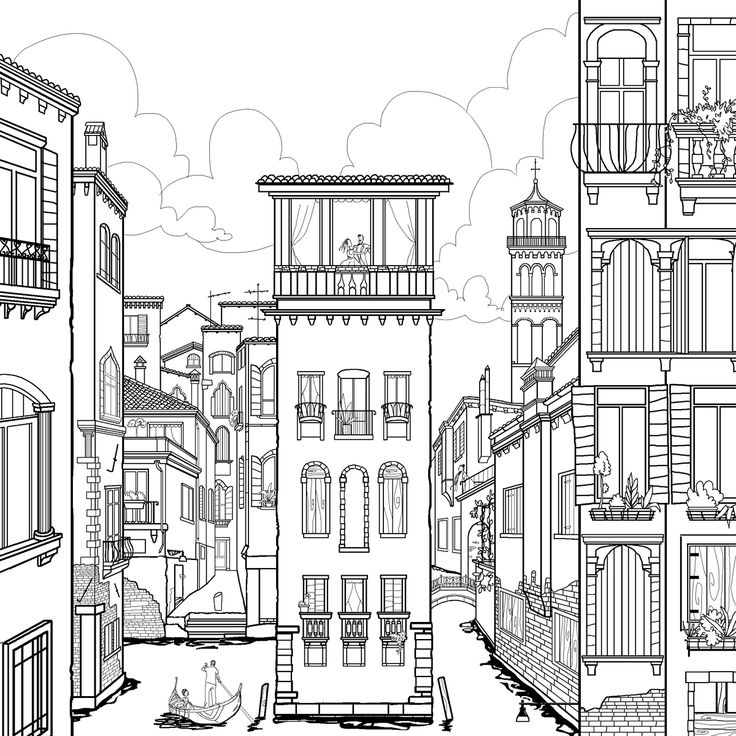 Illustrations For The Zoombooks Project Coloring Book With Most Beautiful Cities In World