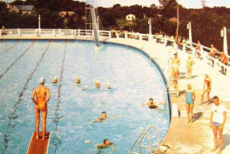 Dixon Illinois Postcard Vintage Mid Century Dixon Memorial Pool