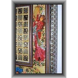 Jeu d'échec et backgammon en bois peint en marqueterie fine iranienne taille du plateau ouvert L: 40cm x l40 cm x h: 6 cm