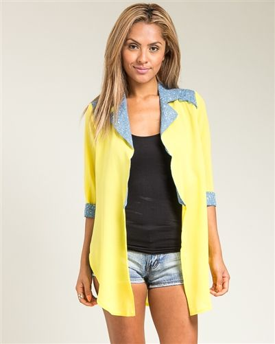 Yellow & Blue Open Front Long Cardigan