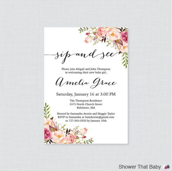 Pink Sip And See Invitation Printable Or Printed