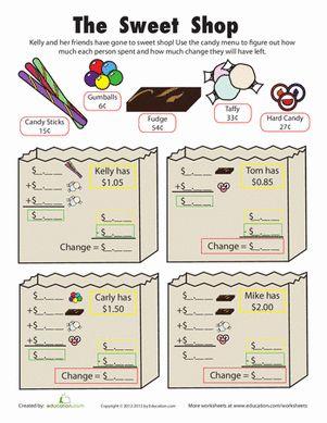 Second Grade Money Subtraction Worksheets: Make Change: Sweet Shop
