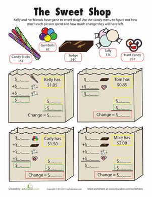 Add and subtract money worksheets 2nd grade