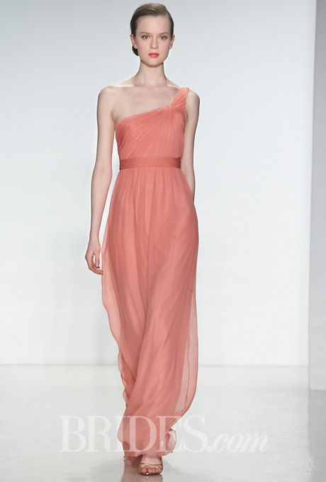 Brides.com: . Style G879C, one-shoulder pink silk chiffon A-line bridesmaid dress with a ruched bodice, Amsale