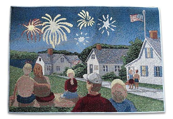 "Unique and Custom {13' x 18' Inch} Single Pack of Rectangle ""Non-Slip Grip Texture"" Large Table Placemat Made of Washable Cotton and Polyester w/ 4th of July Fireworks USA Design [Colorful Blue and Green] * Additional details at the pin image, click it  : Food Service Equipment Supplies"