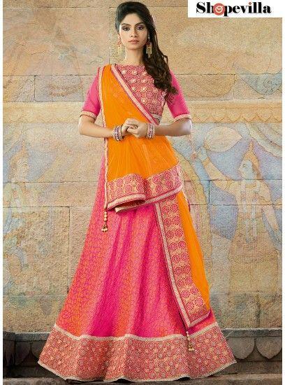 Pink Colour Jacquard Lehenga Choli-6913
