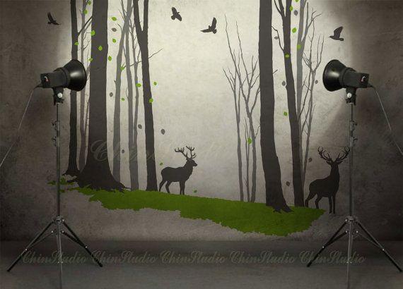 Bosco di natura foresta di decal-Love Vinyl Wall Decals Kid Room con cervi decalcomanie