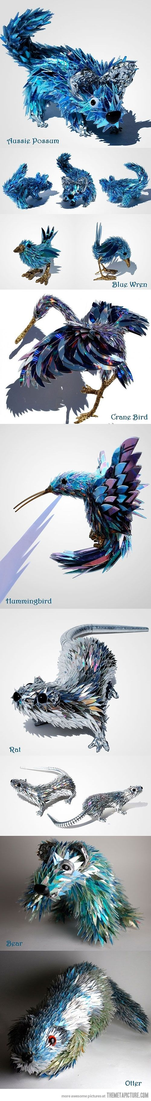 Sculptures made from shattered cds, Sean Avery, http://seanavery.deviantart.com/gallery/#