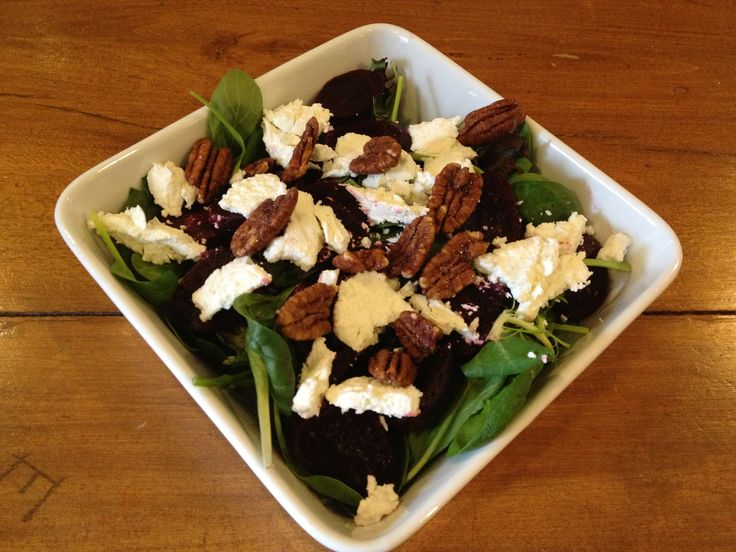 Mixed Greens with Green Beans, Beets, Goat Cheese & Candied Pecans ...
