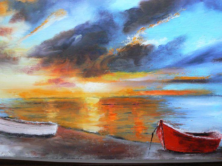 peinture huile couteau coucher de soleil sur nos plages normandes : Peintures par lilihervieu