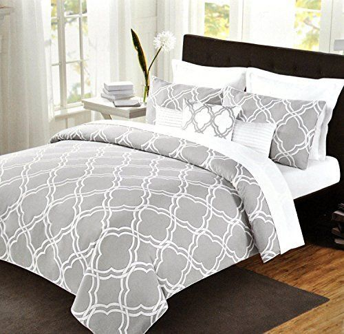 Max Studio Modern Geometric Quatrefoil Trellis Pattern King Size 6pc Duvet Comforter Set Grey White Gray Max Studio Home www.amazon.com/…