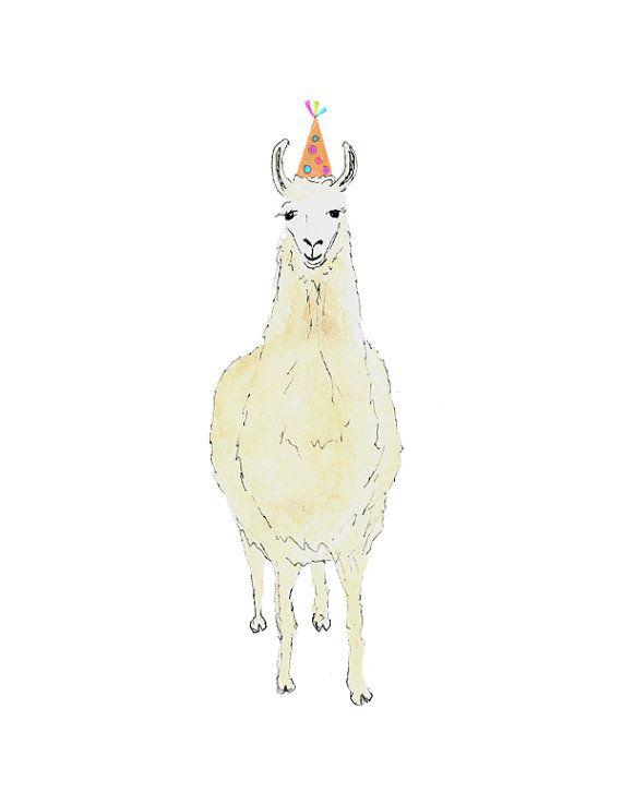 Llama Art.  Llama Print.  Watercolor.  by SnoogsAndWilde on Etsy, $38.00...no drama llama. Has hat like elephant, cute watercolor print for a babies nursery. Pair with elephant.