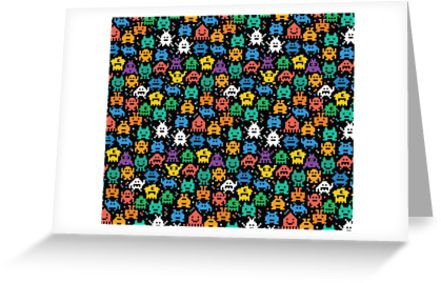 Pixelated Emoji Monster Pattern Illustration by Gordon White   Emoji Monster Greeting Card Available @redbubble  --------------------------- #redbubble #emoji #emoticon #smiley #faces #cute #addorable #greeting #card #stationery #pattern