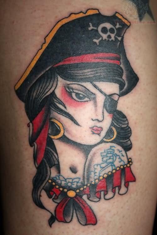 pirate girl tattoo | Pirate Girl Portrait Color Ink Tattoo