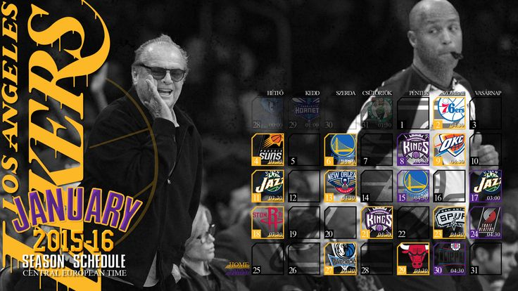 Fan art wallpaper of the 2015-16 regular season schedule of the Los Angeles Lakers. All dates by Central European Time, day names are hungarian. Let's Go Lakers! :-)  Made by #tgersdiy