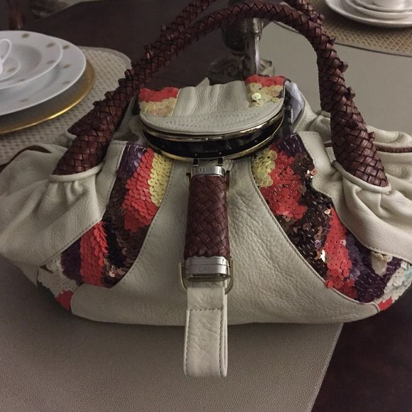 Fendi spy bag authentic Sale Thursday & Friday! Limited edition Fendi  spy bag. Cream leather,sequence ( autumn colors) perfect fall bag. Fendi insignia interior, Awesome condition❤️. Authentic ( Make Offer) no dust bag! Sale Today ( Thursday & Friday ONLY)! FENDI Bags Satchels