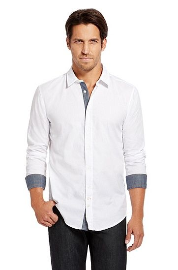 Hugo Boss 'CliffE' | Slim Fit, Cotton Button Down Shirt, White