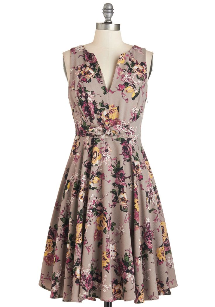 Painted with Panache Dress in Potpourri. With style as your inspiration and this taupe floral dress as your brush, you color special occasions with the rich purple, goldenrod, green, and cream bouquets and birds that blossom beautifully upon your ensemble. #multi #modcloth