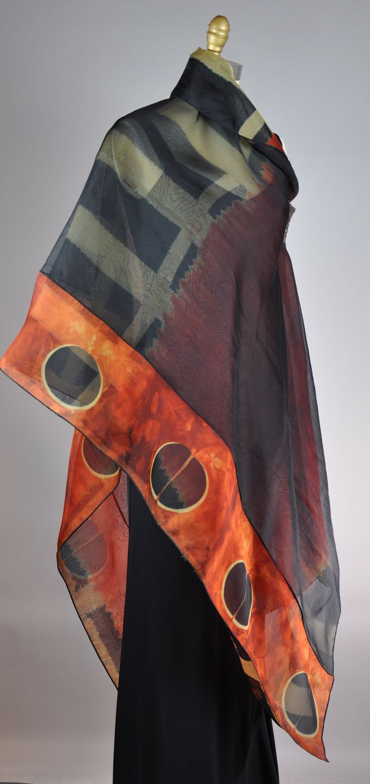 silk organza shibori reversible shawl