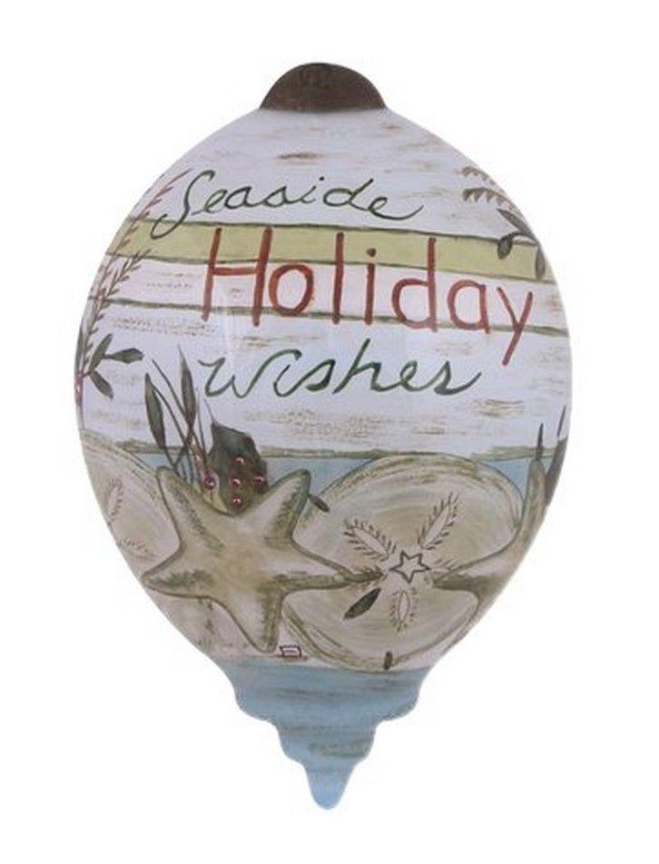Seaside Holiday Wishes Ornament Ne'Qwa Art New Christmas Beach Glass NO BOX #NeQwaArt