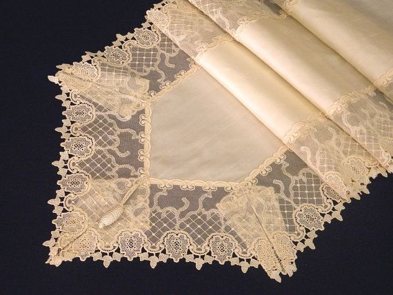 Table runner opulent off white silk with by ClassyInteriorsDeco