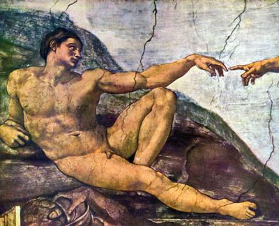 Creation of Adam detail by Michelangelo. Order from DEKORAMI as a poster, canvas print, mural. Zamów jako obraz na płótnie, plakat lub fototapetę na DEKORAMI.pl