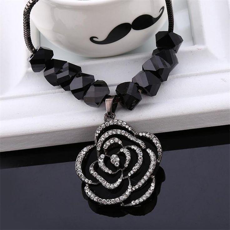 Trendy Women Link Chain Black Rose Luxury Elegant Female Vintage Long Design Sweater Necklace 2016 New Arrival