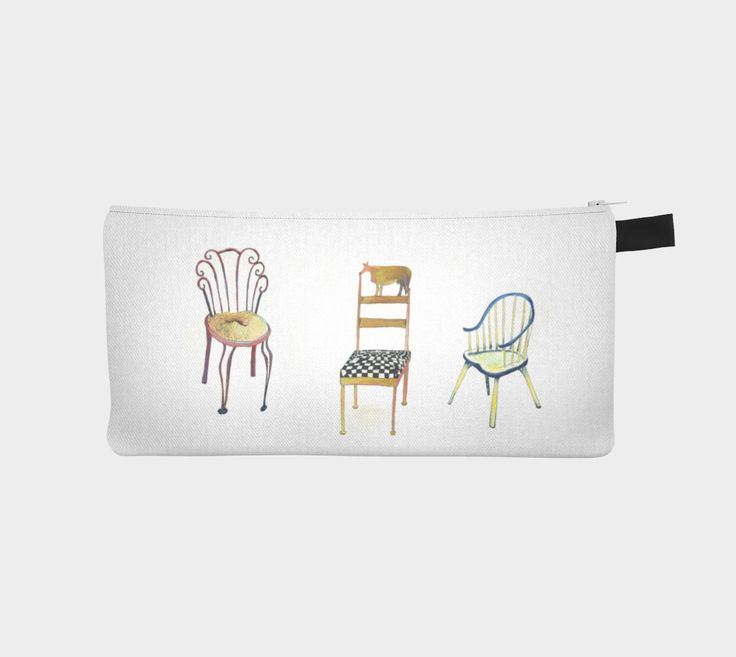 """Artist designed Pencil case by Nadina Tandy   ~keep your love notes, make-up or pencils in the unique 5 Chairs and 1 tac,  9"""" x 4"""" case"""