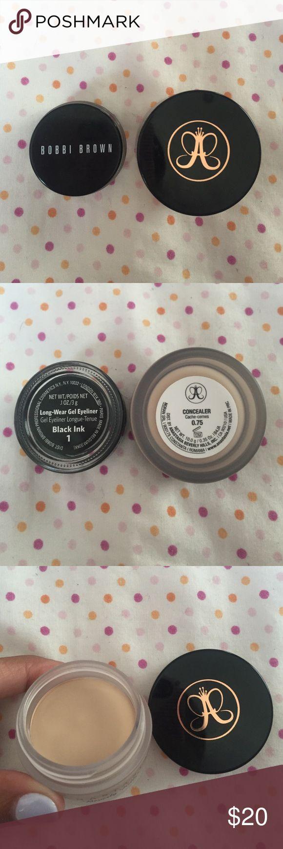 Anastasia concealer and Bobbi Brown gel eyeliner Anastasia concealer (color: 0.75) *BRAND NEW NEVER USED*                                                   Bobbi Brown gel eyeliner (color: Black Ink 1) *BRAND NEW NEVER USED* Anastasia Beverly Hills Makeup