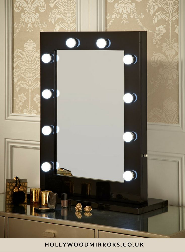Angelina Hollywood Mirror In Black Gloss 80 X 60cm. Mirrored VanityVanity  MirrorsLighted Vanity MirrorMirror MirrorDressing Table ...