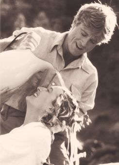 Actor, film director, producer, businessman, environmentalist, philanthropist and founder of the Sundance Film Festival Robert Redford (b. 1936) with Meryl Streep (b. 1949)