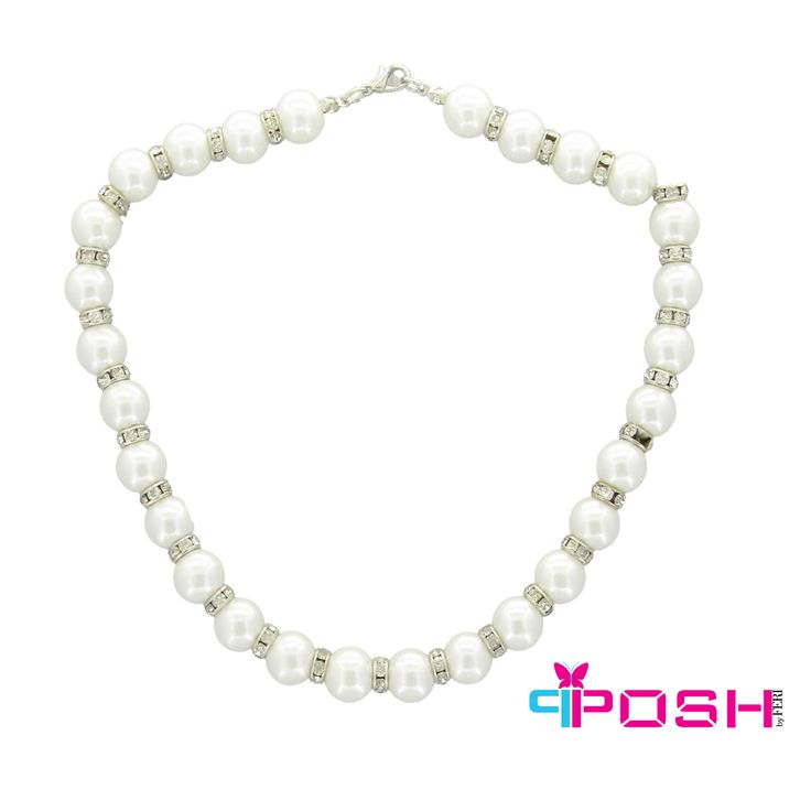 Stella - Beautiful white glass pearl and Rhinestone Ball necklace -Dimensions: 42cm + 5cm extending chain $50 #necklace #jewelry