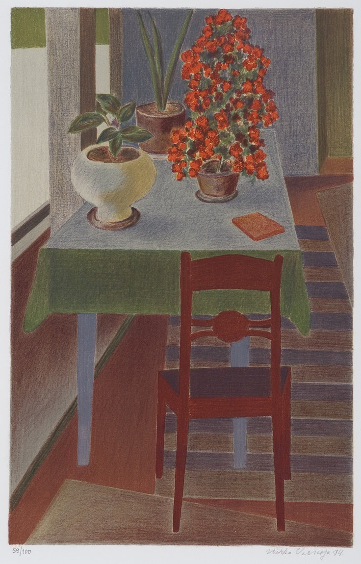 VEIKKO VIONOJA A Still Life with Flowers and a Table
