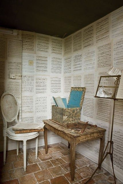 sheet music as wall covering for studio or music room