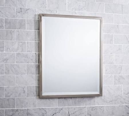 Kensington Mirror, Rectangle, Satin Nickel finish - Wall ...