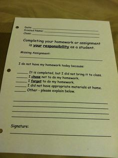 """Student Reflection Form """"No Homework"""" Binder. It's my personal/teacher mission to help students become more responsible for their actions. I like that this form makes them accountable for their missing work AND requires them to think about it-something which usually doesn't happen."""