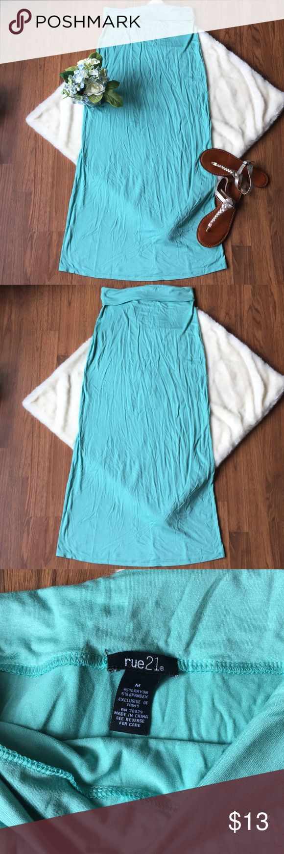 """Rue 21 Mint Maxi Skirt Stretchy, cozy maxi skirt by Rue 21. Fold over waist. 14"""" flat across waist, 35.5"""" top to bottom. Says medium but more like a small. Rue 21 Skirts Maxi"""