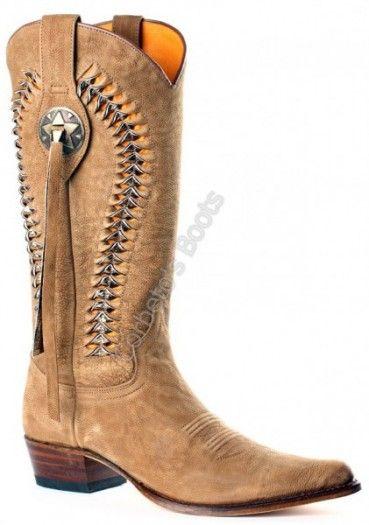 Corbeto's Boots | 9506 Estrella Inca Óxido 498 | Bota cowboy Sendra boots piel vacuno beig para mujer con caña muy trabajada | Sendra cowboy boots with an eyecatching leg for ladies