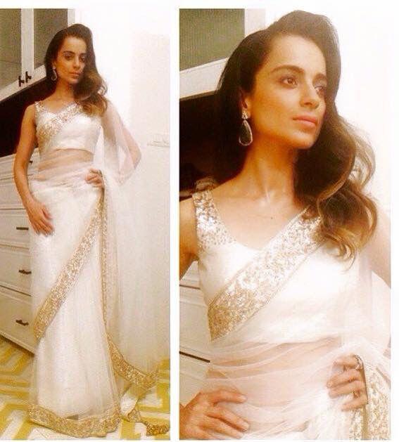 Kangana Ranaut in Manish Malhotra's sheer white Saree! #Beautiful