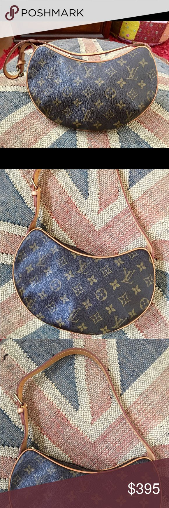 Louis Vuitton Crescent Pochette Handbag 💖Firm💖 This is an authentic Louis Vuitton monogram Pochette handbag shoulder bag. Gently used. Comes with dust cover bag and is an excellent condition as you can see from the photos. Some very minor wear on the shoulder strap, as you can see in the photo but it is barely noticeable. measures 10 1/2 inches long by 7 inches high by 2 inches deep. 9 inch shoulder strap drop. No trades please. Price is firm. Louis Vuitton Bags Shoulder Bags