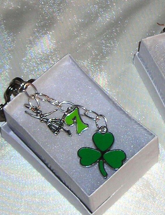 St. Patrick's Day - Clover Leaf Key Fob: Accented with #9 or 7 with Celtic Dancer https://www.etsy.com/listing/69509296/clover-leaf-key-ring-with-charm-celtic