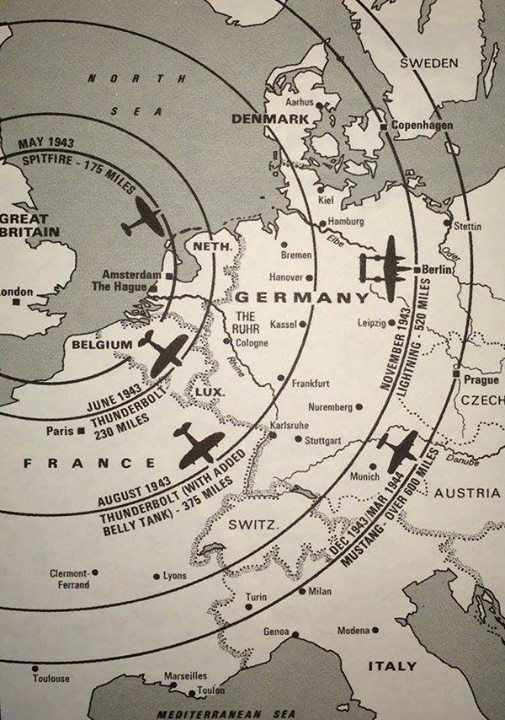 A map of the distance WWII fighters can fly from the UK mainland. http://wrhstol.com/2hPARsz