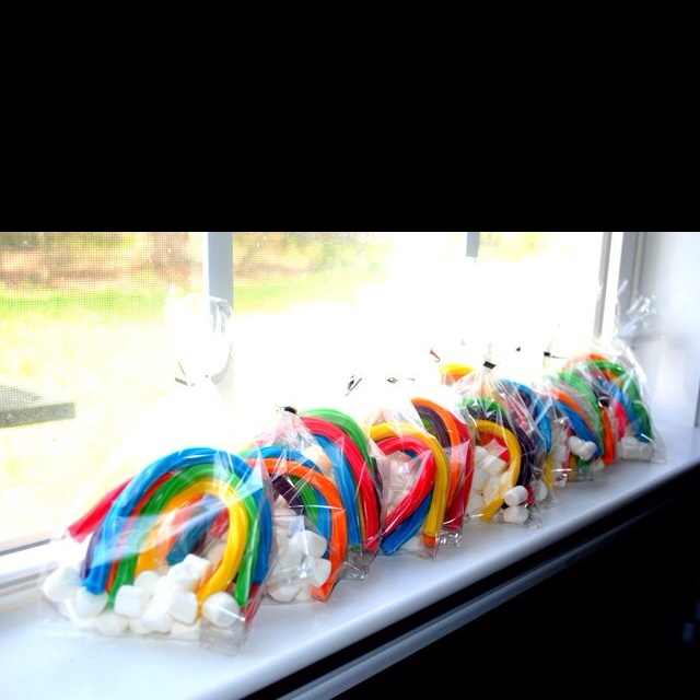 Rainbow lolly bag with marshmallow clouds