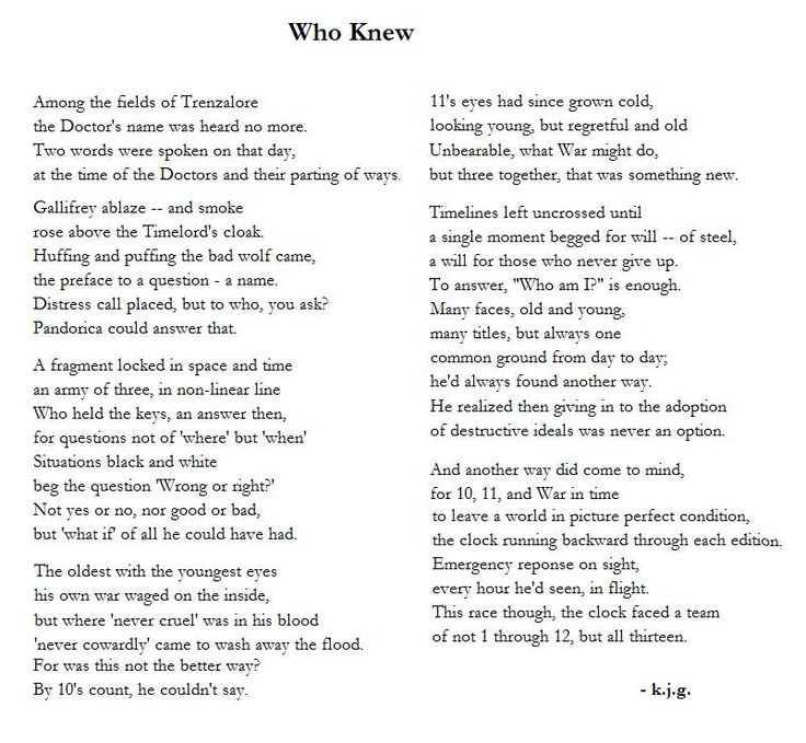 Great Doctor Who poem.