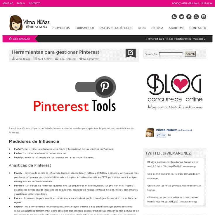 Herramientas para gestionar #Pinterest 'http://vilmanunez.com/2012/04/06/herramientas-para-gestionar-pinterest/' snapped on Snapito!:  Internet Site, Tools,  Website, Web Site, Social Media, 42 Herramienta, Herramienta Para, Social Networks, Rede Social