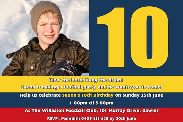 AFL Football Boy Photo Invitation